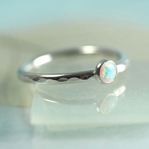 Silver Stacking Ring with White Synthetic Opal