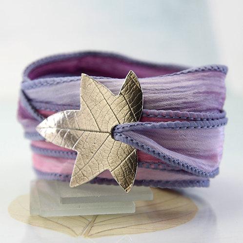 Silver Leaf Bracelet  Soft Silk Ribbon Wrist Wrap