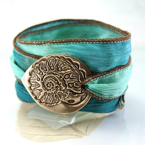 Bronze Ammonite Bracelet Silk Wrap