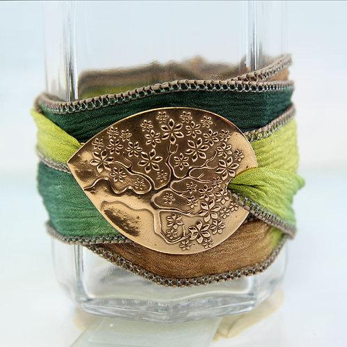 Bronze Tree of Life Silk Wrap Bracelet