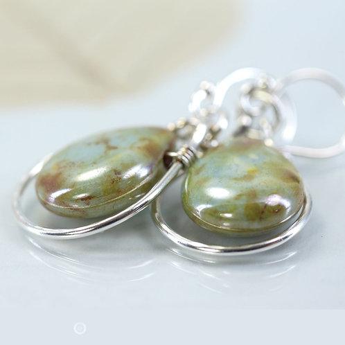 Silver Framed Moss Glass Drop Earrings