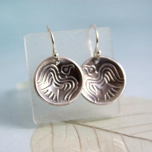 Odins Ravens Earrings Domed Silver Dangle