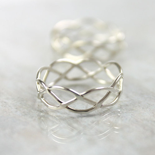 Silver Celtic Ring - Braid Ring 5mm - 3 Strand