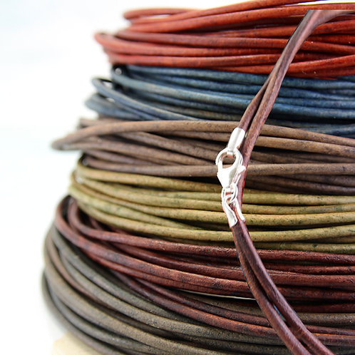 Leather Necklace with Sterling Silver Clasp 2 mm