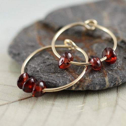 Gold-fill Hoops with Garnet Beads