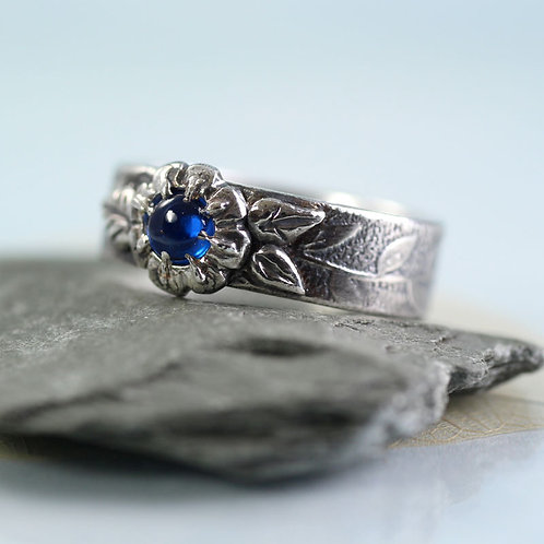 Silver Flower Ring with Blue Spinel Unique in Size N