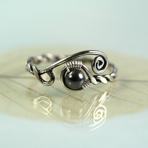 Silver Ring with Haematite Viking Rustic Style
