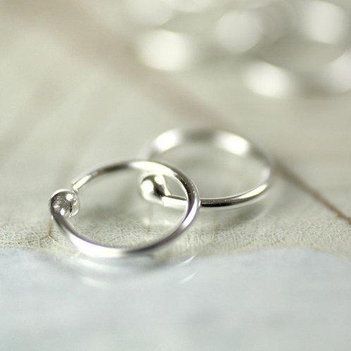 Silver Sleeper Hoop Earrings 11 mm