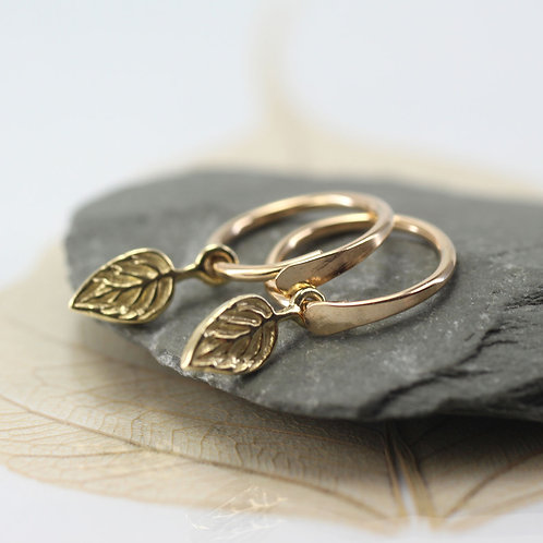 Small Gold Overlap Hoops with leaf charms