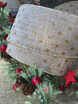 Burlap linen ribbon wired w/gold sparkle dots 2yds