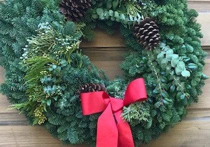 Traditional Wintersteen Wreath w/Eucalyptus