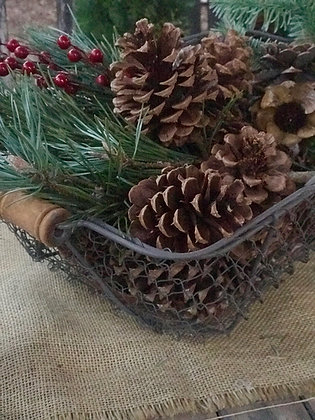 LARGE Farmhouse Wired Baskets w/Pinecones & Greens