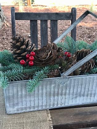 Galvanized Metal Basket Full of Holiday Greens