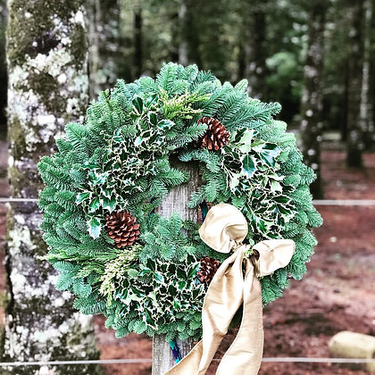 """Variegated holly wreath 24"""""""