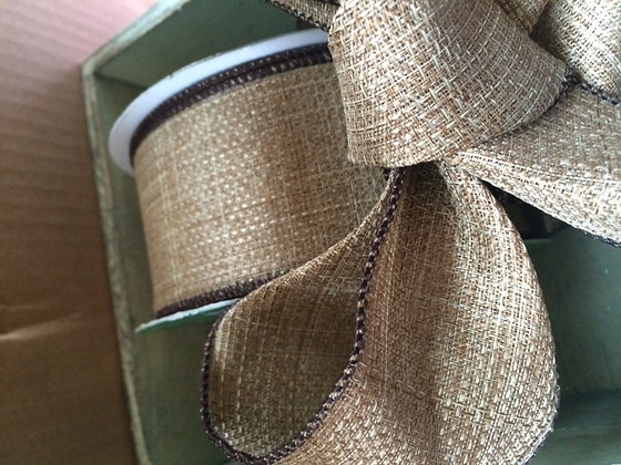 Burlap wired ribbon 2yds