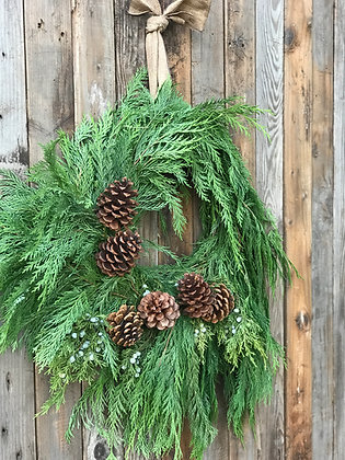 Rustic Cedar Wreath 24""