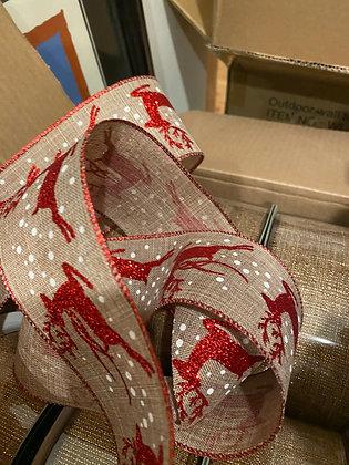 Burlap linen ribbon w/red glitter Reindeer 2yds