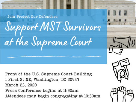 CANCELLED: Join the MWC & POD to Support MST Survivors at the Supreme Court!