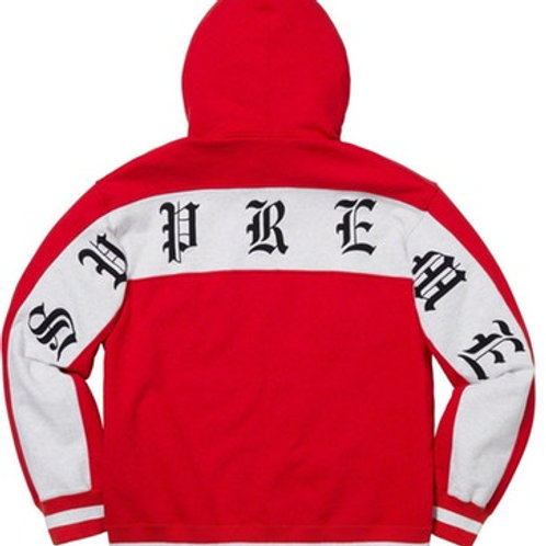 Old English Zip Up Hoodie (Red, L)