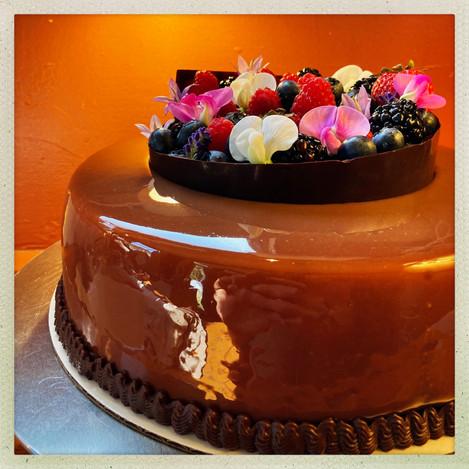 Chocolate Mousse Cake with Seasonal Fruit