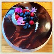 Chocolate Buttercream Cake with Fresh Berries
