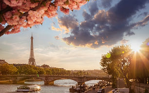 Paris with Eiffel Tower against spring t
