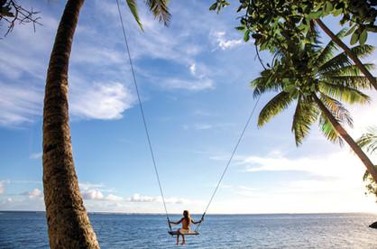 Riesenschaukel zwischen Kokospalmen
