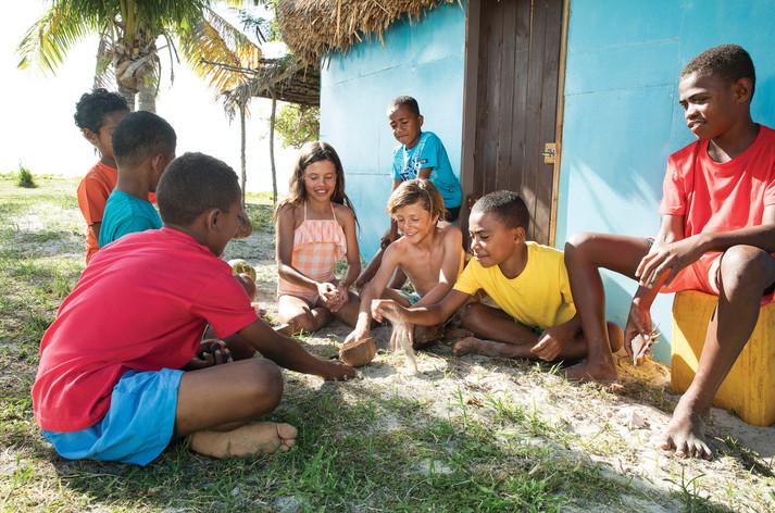 Fijianisches Dorfleben