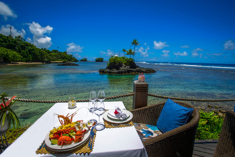Seabreeze Resort Samoa - Tisch mit Aussicht
