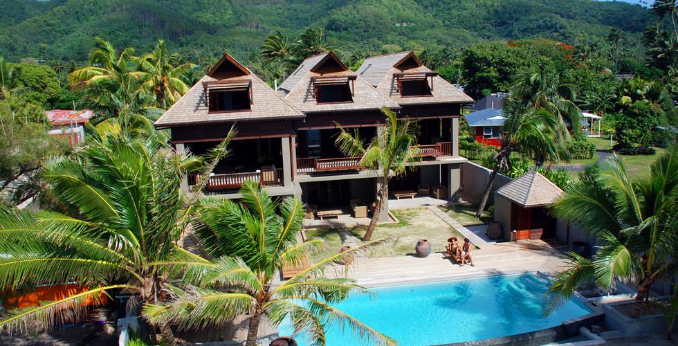Cook_Inseln-Te_Vakaroa_villa-Luftansicht