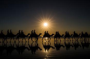 Kamelritt am berühmten Cable Beach in Broome
