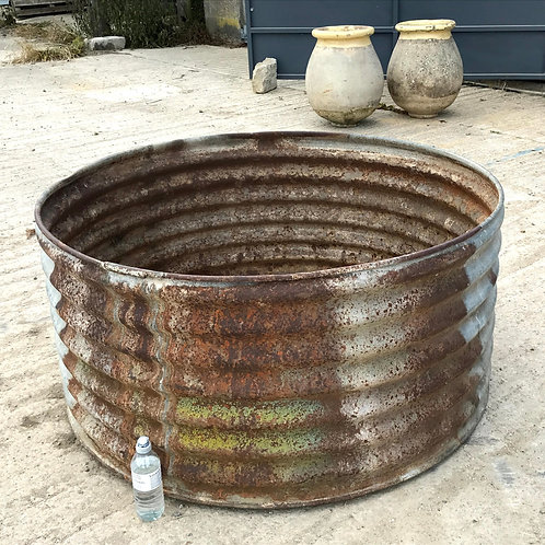 Very Large French Galvanised Ribbed Trough