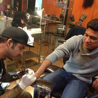 Tatuando a Freddy Montero !! Obrigado !'