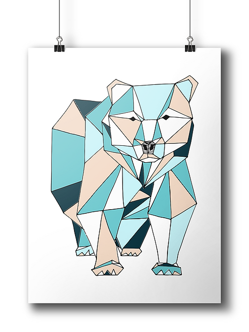 Geometric Bear Serigraphy - A3 - Limited Edition -