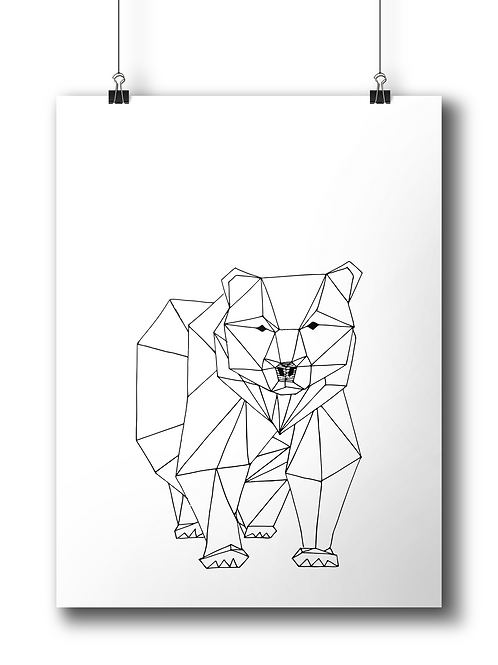 Geometric Bear  - A4 - Serigraphy