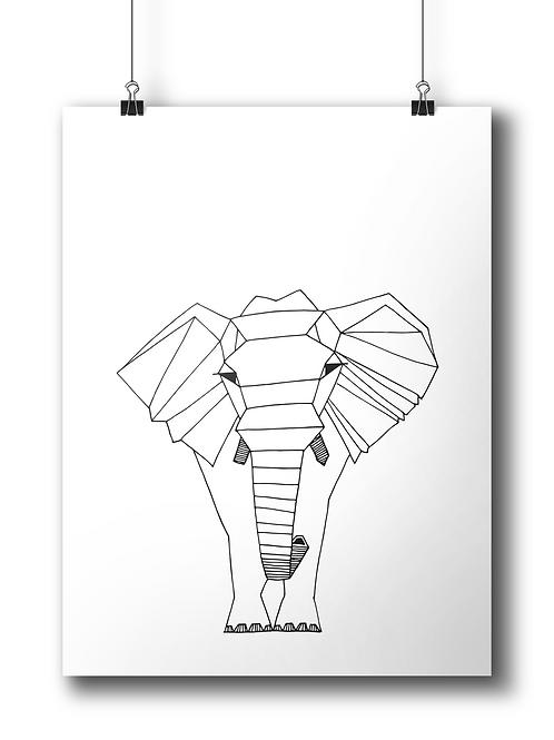 Geometric Elephant - A4 - Serigraphy