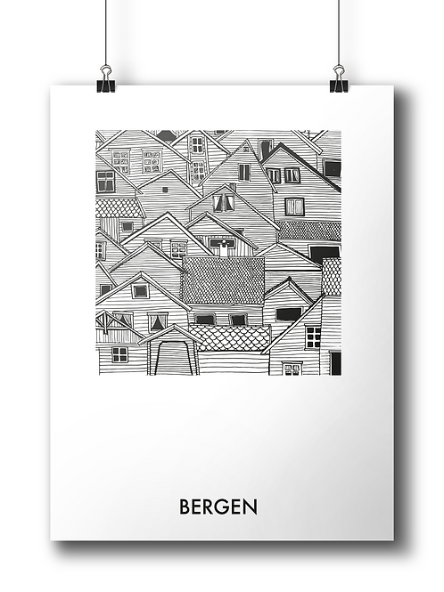Bergen Houses Watercolor