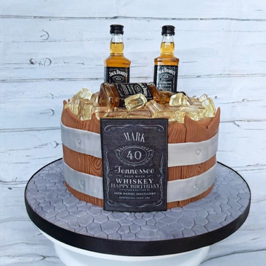 Barrel of Whiskey cake.
