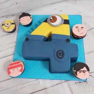 Minion Number cake