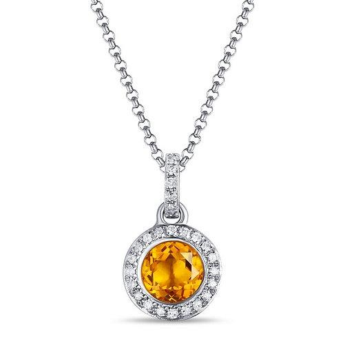 14k White Gold, Citrine & Diamond Pendant with Chain
