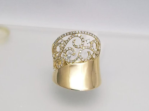 14k Yellow Gold & Diamond Fashion Ring