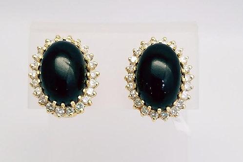 14k Yellow Gold, Black Coral & Diamond Earrings