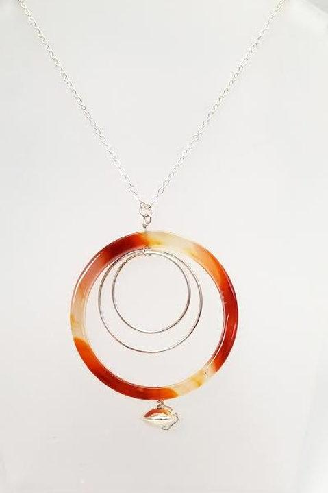 Sterling Silver & Carnelian Custom Designed Necklace