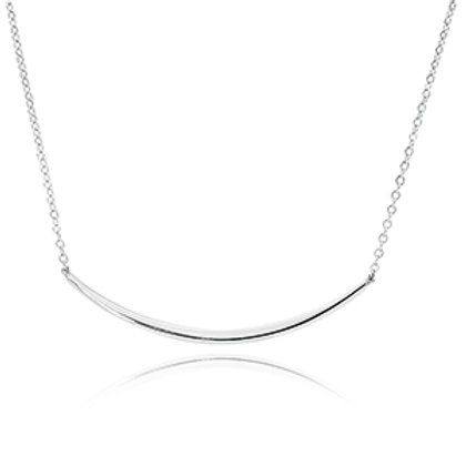 Sterling Silver Curved Bar Necklace (chain included)