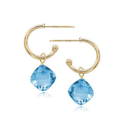 14k Yellow Gold & Blue Topaz Earrings