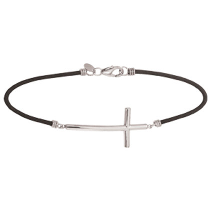 Sterling Silver and Black Neoprene Cross Bracelet