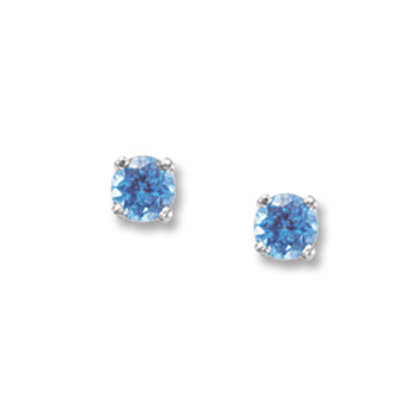 14k White Gold & 4mm Swiss Round Blue Topaz Earrings
