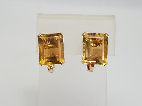10k Yellow Gold & Citrine Earrings-Clip-on Style