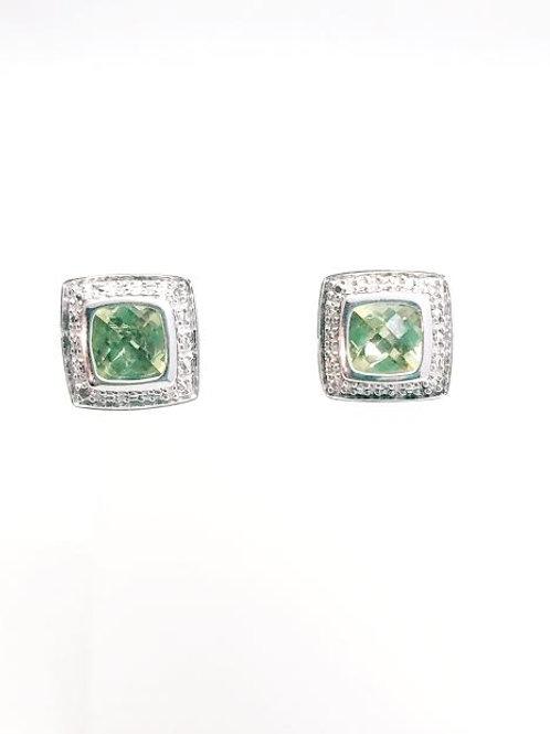 Sterling Silver, Peridot & Diamond Earrings