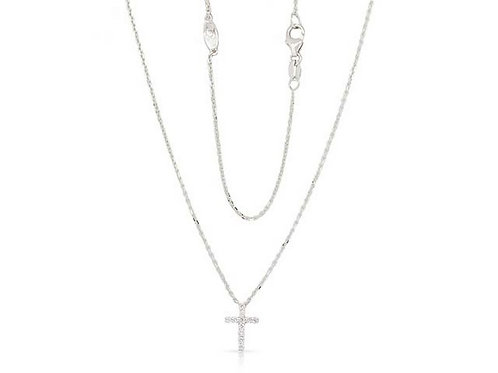 14k White Gold & Diamond Cross Necklace